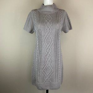 Snobby Sheep Mock Neck Cable Knit Sweater Dress